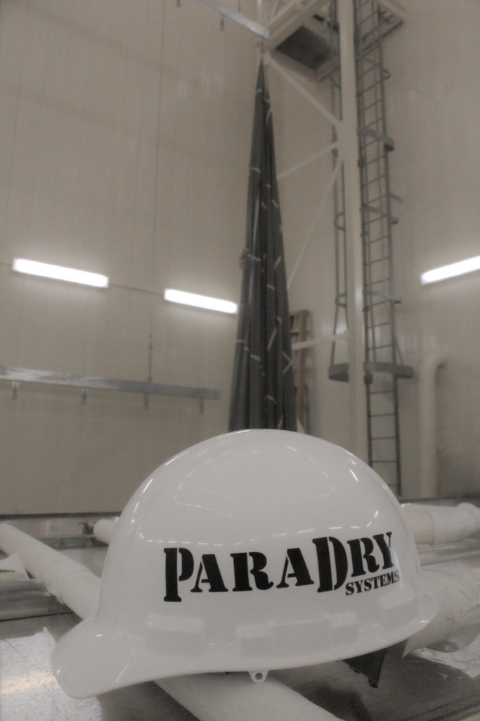 White hard hat with ParaDry logo.